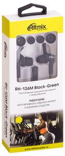Наушники Ritmix RH-126M (черно-зеленые) — фото, картинка — 2