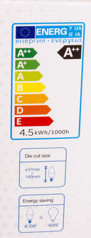 Светодиодная лампа V-TAC VT-255 4,5 ВТ, G120, Е14, 3000К, Samsung — фото, картинка — 4